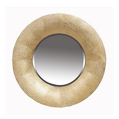 Hammered Gold Round Wall Mirror