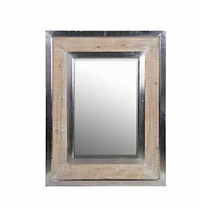 Whitewashed Wood and Aluminum Wall Mirror