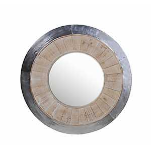 Whitewashed Wood and Aluminum Round Wall Mirror