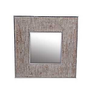 Whitewashed Paneled Wood and Aluminum Wall Mirror