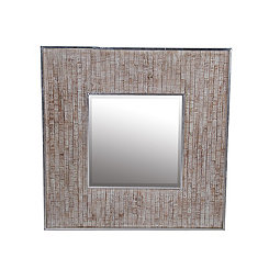 Whitewashed Paneled Wood and Aluminum Wall Mirror