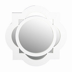 White Circle Quatrefoil Wall Mirror