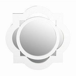 White Circle Quatrefoil Wall Mirror