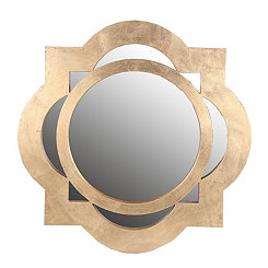 Gold Circle Quatrefoil Wall Mirror