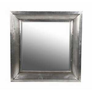 Silver Wood and Aluminum Wall Mirror