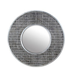 Silver Aluminum Round Wall Mirror