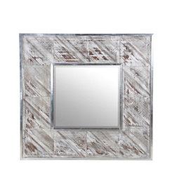 Silver Aluminum Square Wall Mirror