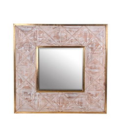 Distressed Red Square Wall Mirror