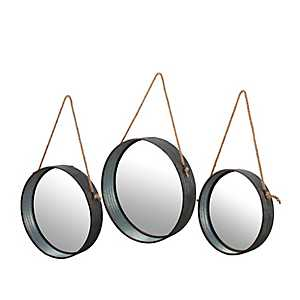Galvanized Metal Round Wall Mirrors, Set of 3