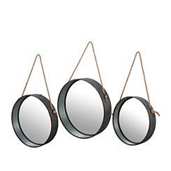 Galvanized Metal Round Wall Mirrors, Set of 3