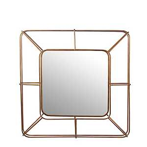 Gold Cutout Square Wall Mirror