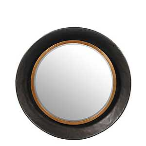 Hammered Metal Round Wall Mirror, 24 in.
