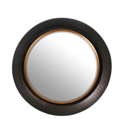 Hammered Metal Round Wall Mirror, 35 in.