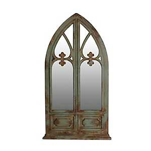 Distressed Green Vintage Arch Wall Mirror