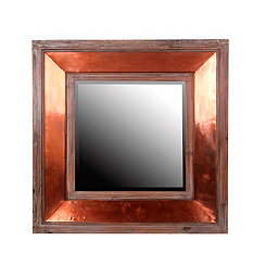 Wood and Copper Wall Mirror