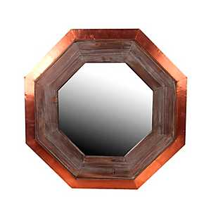 Wood and Copper Hexagon Wall Mirror