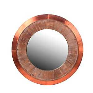 Wood and Copper Round Wall Mirror