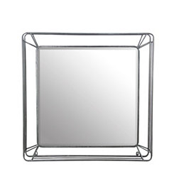 Silver Cutout Square Wall Mirror
