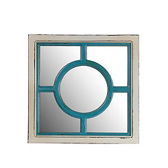 Antique Blue and White Circle Wall Mirror
