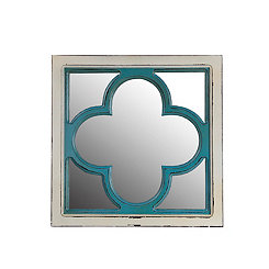 Antique Blue and White Clover Wall Mirror