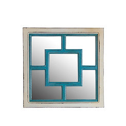 Antique Blue and White Square Wall Mirror