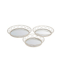 Silver Iron Decorative Wall Mirrors, Set of 3