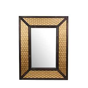 Woven Brass Wood and Metal Mirror