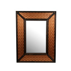 Woven Copper Wood and Metal Mirror