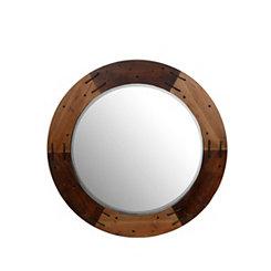 Round Patchwork Wood Mirror