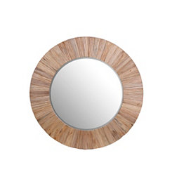 By the Docks Round Wooden Mirror