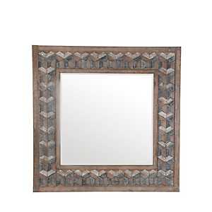 Square Trefoil Mosaic Wood Mirror