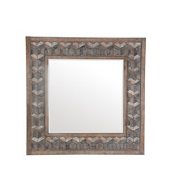 Square Trefoil Mosaic Wood Mirror