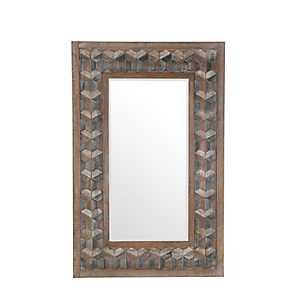 Rectangle Trefoil Mosaic Wood Mirror