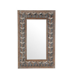 Rectangle Trefoil Mosaic Wood Mirror