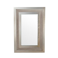 Gray Linen and Wood Mirror