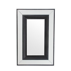 Black Linen and Wood Mirror