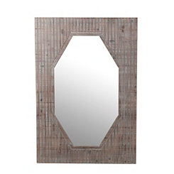 Geometric Lines Wooden Mirror