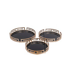 Golden Greek Key Mirror Trays, Set of 3