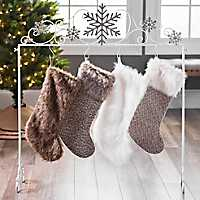 Galvanized Snowflakes Stocking Holder