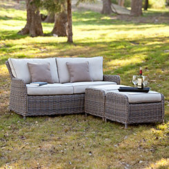 Cynthia Wicker Sofa and Ottomans, Set of 3