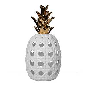 Pierced White Ceramic Pineapple Statue