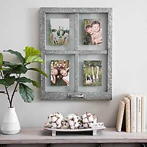 Galvanized Metal Windowpane Collage Frame