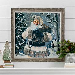 Woodland Rustic Santa Framed Art Print