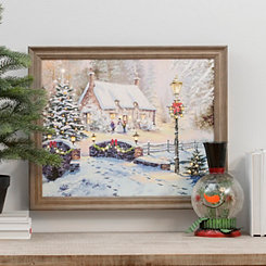Winter Cottage LED Framed Art Print