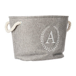 Gray Laurel Monogram A Storage Bin