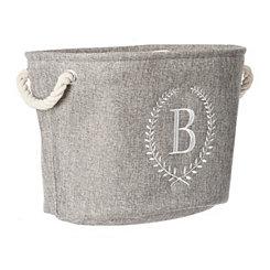 Gray Laurel Monogram B Storage Bin
