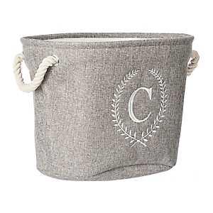 Gray Laurel Monogram C Storage Bin