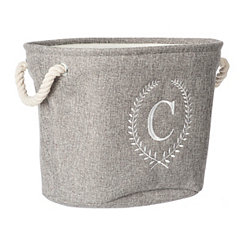 Gray Laurel Monogram C Storage Bin