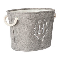 Gray Laurel Monogram H Storage Bin