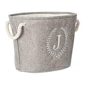 Gray Laurel Monogram J Storage Bin